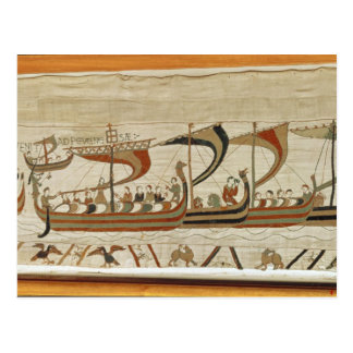 Duke William and his fleet cross the Channel Postcard
