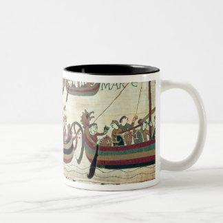 Duke William and his Fleet Cross the Channel to Pe Two-Tone Coffee Mug