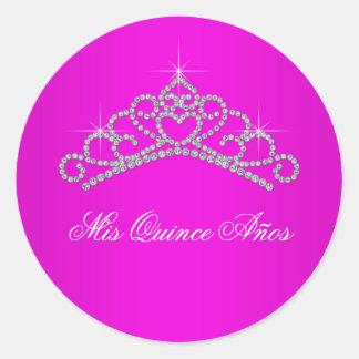 Dulce 15 Quinceanera de la tiara de las rosas Pegatinas Redondas