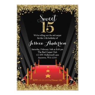 """Dulce 15 Quinceanera del brillo de Hollywood de la Invitación 5"""" X 7"""""""