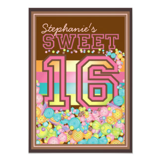 "Dulce 16 colección de dieciséis caramelos en Brown Invitación 5"" X 7"""