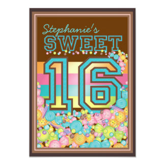 Dulce 16 colección de dieciséis caramelos en invitación 12,7 x 17,8 cm