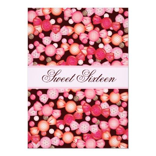 Dulce 16 colección de dieciséis caramelos en rosa invitación 12,7 x 17,8 cm