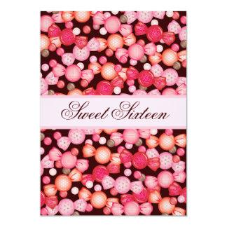 """Dulce 16 colección de dieciséis caramelos en rosa invitación 5"""" x 7"""""""