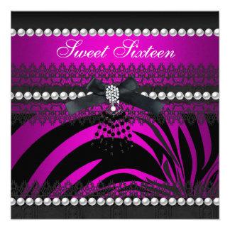 Dulce 16 cordón de la perla del negro de dieciséis comunicado personal
