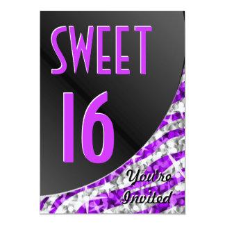 """Dulce 16"""" de la curva púrpura de la cebra del invitación 5"""" x 7"""""""