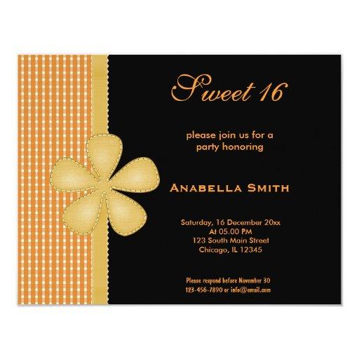 Dulce 16 de la flor invitación 10,8 x 13,9 cm