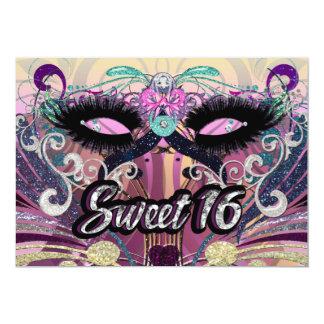 Dulce 16 de la mascarada invitación de la máscara