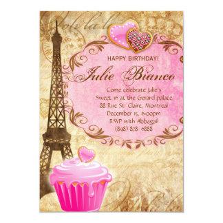 """Dulce 16 de la torre Eiffel de París de la fiesta Invitación 5"""" X 7"""""""