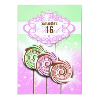 """Dulce 16 del caramelo del cumpleaños de los chicas invitación 5"""" x 7"""""""