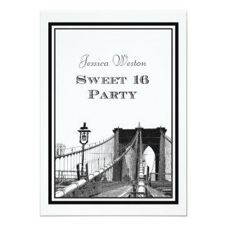 """Dulce 16 del puente de Brooklyn del horizonte de Invitación 5"""" X 7"""""""