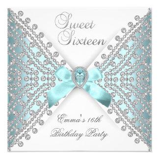 Dulce 16 diamante blanco de plata azul de dieciséi invitacion personalizada