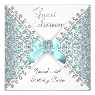 "Dulce 16 diamante blanco de plata azul de invitación 5.25"" x 5.25"""