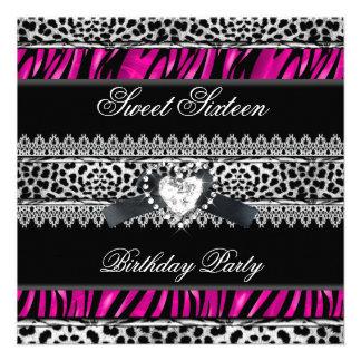 Dulce 16 diamante negro del rosa del leopardo de d anuncio personalizado