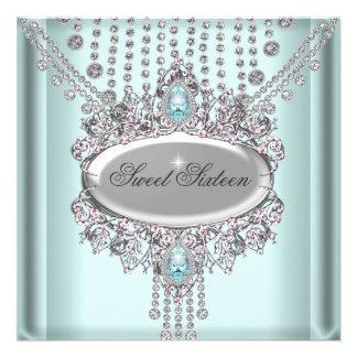 Dulce 16 diamantes blancos azules de la fiesta de anuncio