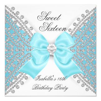 """Dulce 16 fiesta blanco azul del diamante de invitación 5.25"""" x 5.25"""""""