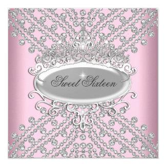"""Dulce 16 imagen rosada de dieciséis diamantes del invitación 5.25"""" x 5.25"""""""