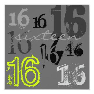 Dulce 16 invitaciones de la fiesta de cumpleaños invitación 13,3 cm x 13,3cm