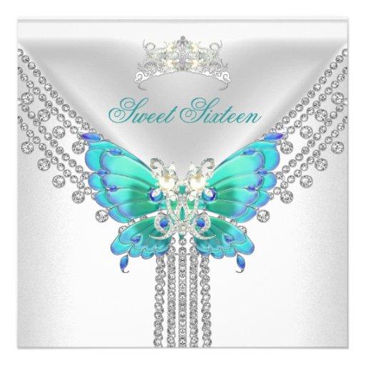 Dulce 16 mariposa blanca azul de dieciséis trullos invitaciones personales