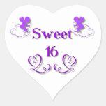 Dulce 16 pegatina en forma de corazón