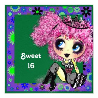 """Dulce 16 PinkyP del chica de Kawaii Invitación 5.25"""" X 5.25"""""""
