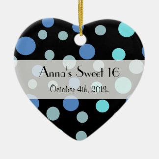 Dulce 16 - Puntos inconsútiles, puntos - azul Adorno Navideño De Cerámica En Forma De Corazón