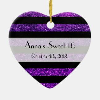 Dulce 16 - Rayas, líneas, brillo - negro púrpura Adorno De Cerámica En Forma De Corazón