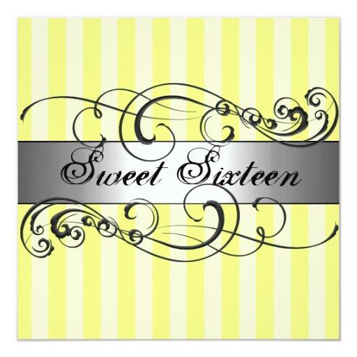Dulce amarillo/de plata de la raya invitación de