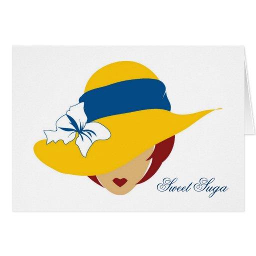 Dulce amarillo Suga del gorra Tarjeta De Felicitación