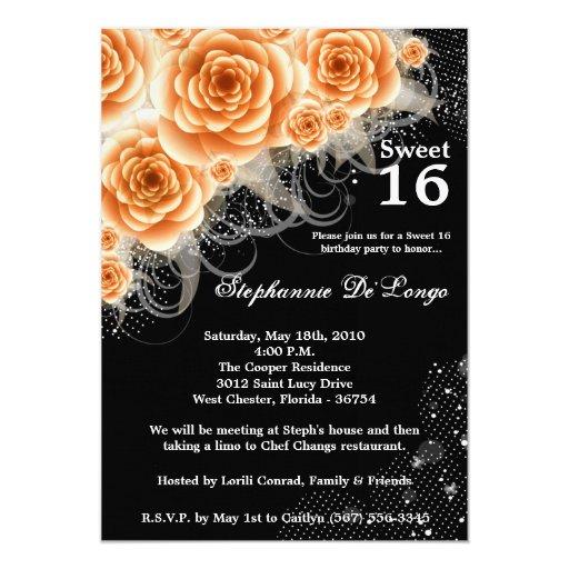 dulce anaranjado de los rosas 5x7 invitación de 16