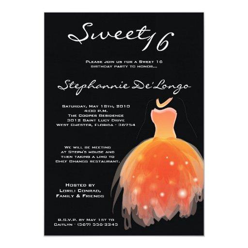 dulce anaranjado del vestido 5x7 invitación de 16