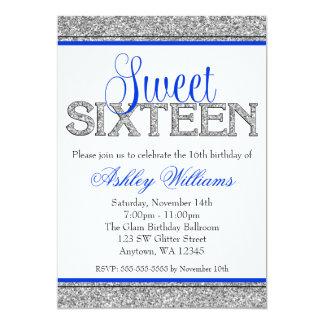 """Dulce azul 16 de la falsa plata atractiva del invitación 5"""" x 7"""""""