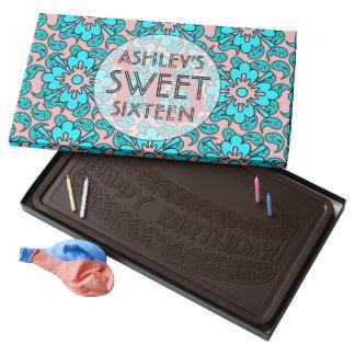 Dulce azul claro y rosado 16 caja con tableta de chocolate negro grande