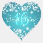 Dulce azul de la chispa de dieciséis inviernos calcomanías de corazones