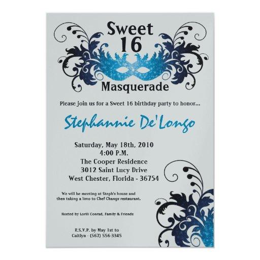 dulce azul de la mascarada 5x7 invitación de 16