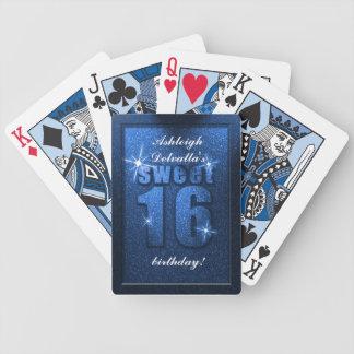 Dulce azul del brillo 16 naipes del cumpleaños