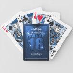 Dulce azul del brillo 16 naipes del cumpleaños baraja cartas de poker