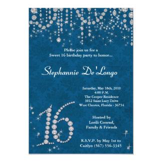 dulce azul del diamante 5x7 invitación de 16