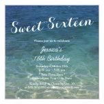 Dulce azul dieciséis del tema de la playa del invitación 13,3 cm x 13,3cm