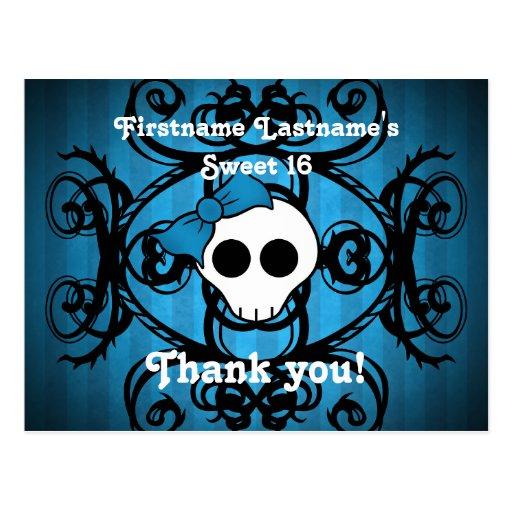 Dulce azul y negro 16 del cráneo gótico lindo tarjeta postal