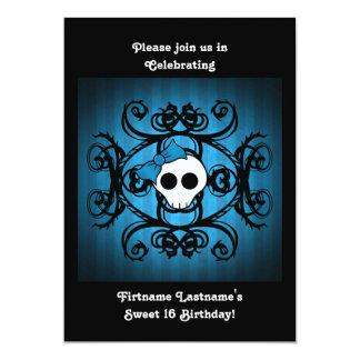 """Dulce azul y negro 5x7 16 del cráneo gótico lindo invitación 5"""" x 7"""""""