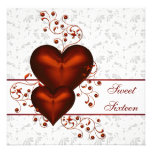 Dulce blanco dieciséis del damasco rojo del corazó comunicado personalizado
