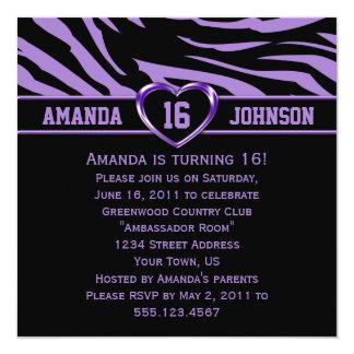 Dulce cebra púrpura y negra Purple Heart de 16 Comunicado Personal