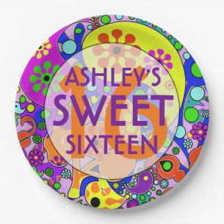 Dulce colorido 16 placas de la fiesta de platos de papel