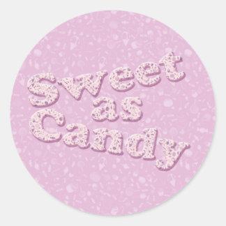Dulce como caramelo pegatina redonda