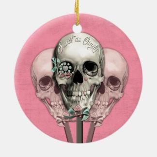 Dulce como cráneos del Lollipop del caramelo en Adorno Redondo De Cerámica