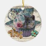 Dulce como ornamento del gatito de la magdalena adorno para reyes