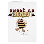 Dulce de la abeja como las camisetas y regalos de  tarjetón