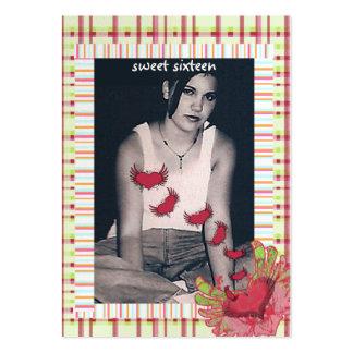 Dulce de la frambuesa de la tela escocesa 16 tarje plantilla de tarjeta personal