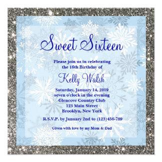 Dulce de los copos de nieve del brillo invitación